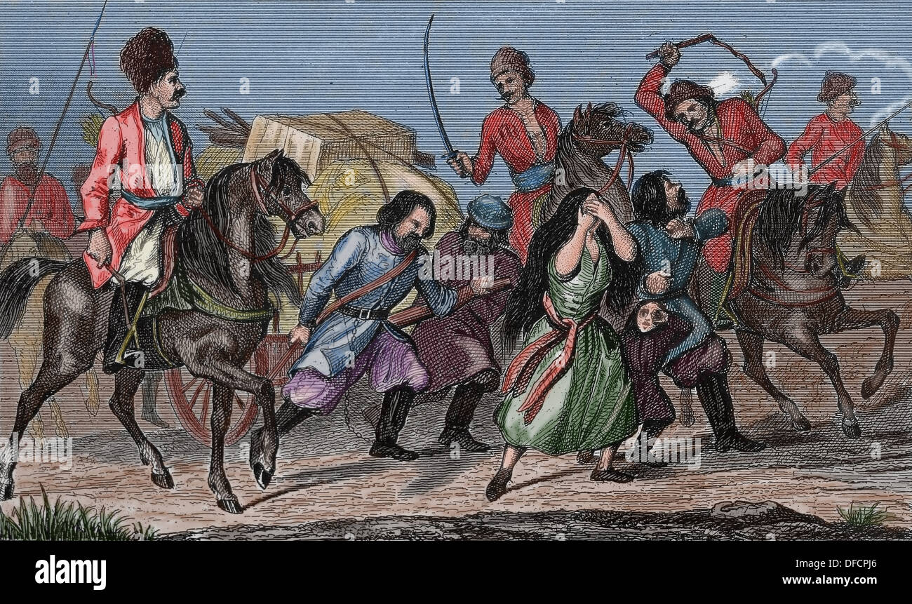 Russian Empire. 18th century. Russian serfs on the Don, river of Russia. Colored engraving. Stock Photo