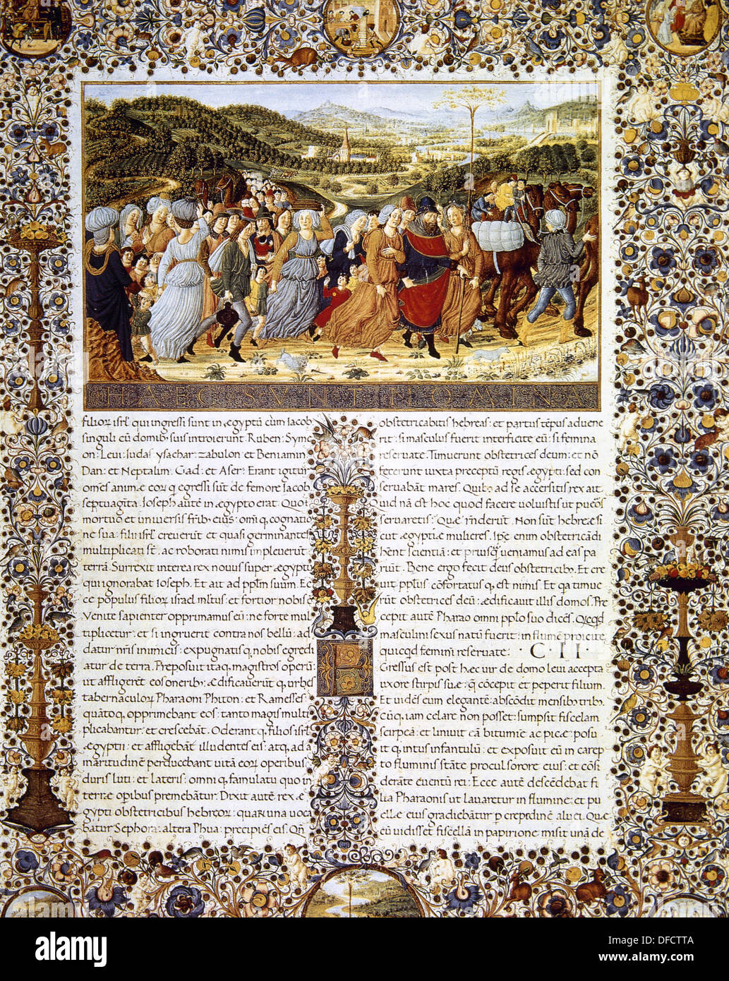 Urbinate Bible (1476-78). The Exodus. The departure of the Israelites from Egypt under the leadership of Moses. - Stock Image