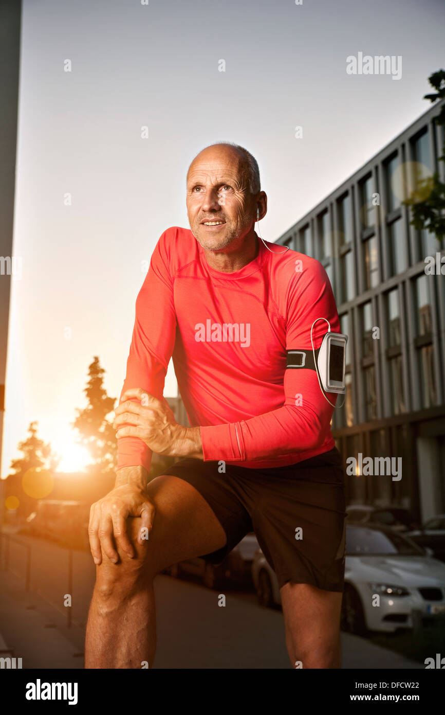 Mature athletic man outdoors - Stock Image