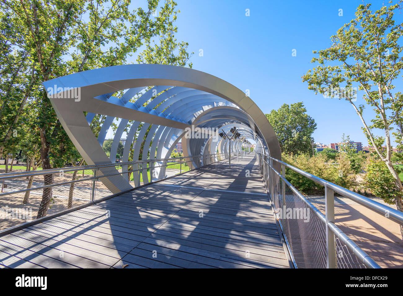Famous Arganzuela Bridge in Madrid Rio Park, Madrid, Spain - Stock Image