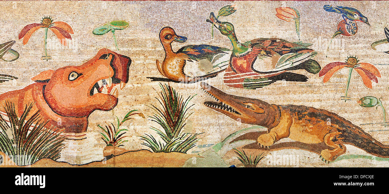 Nile Scene Roman Mosaic ( Scena Nileotica ) of animals from Pompei Archaeological Site. Naples Archaeological Museum inv 9990 - Stock Image