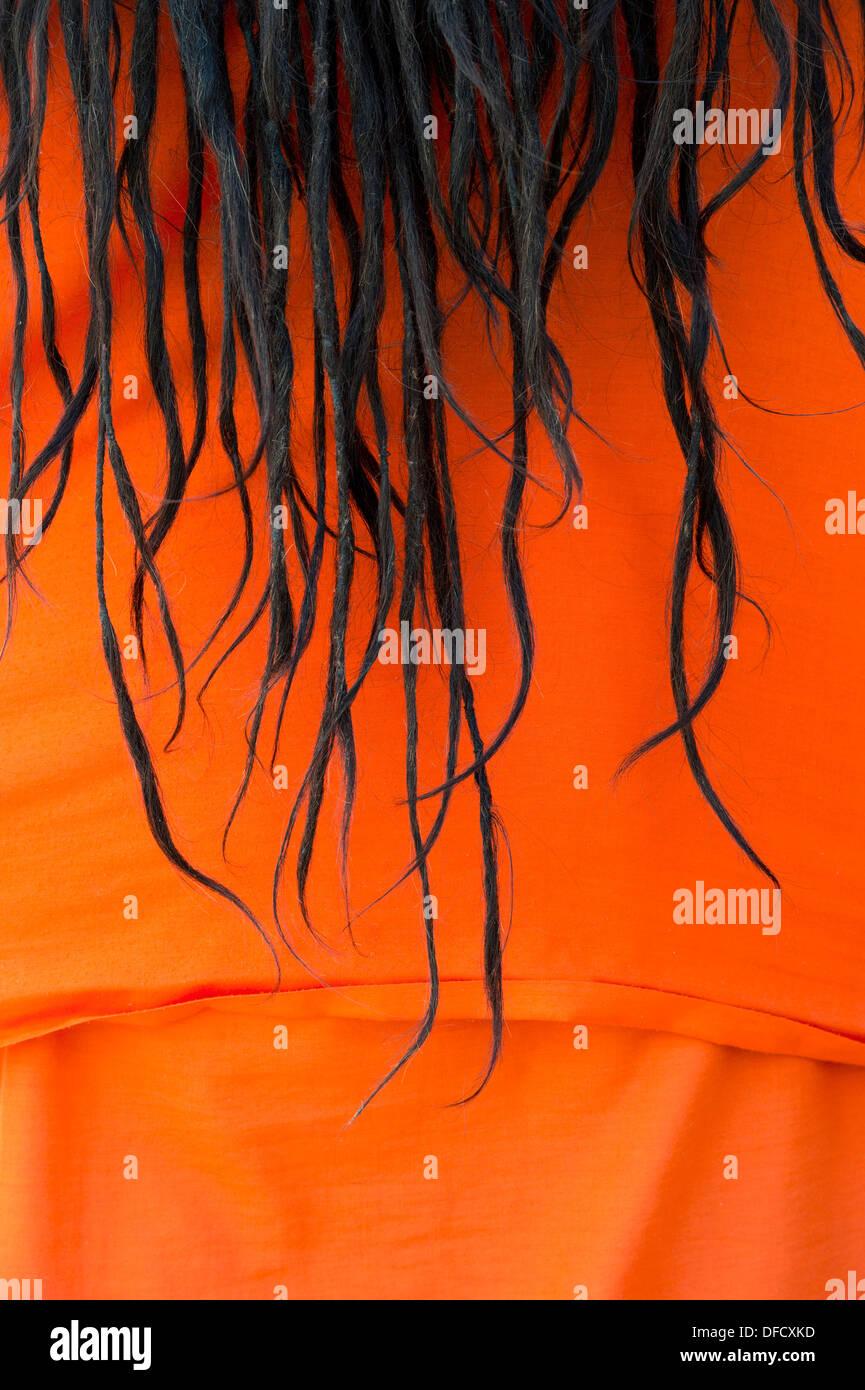 Indian Sadhus dreadlocks against his orange cloth. India - Stock Image
