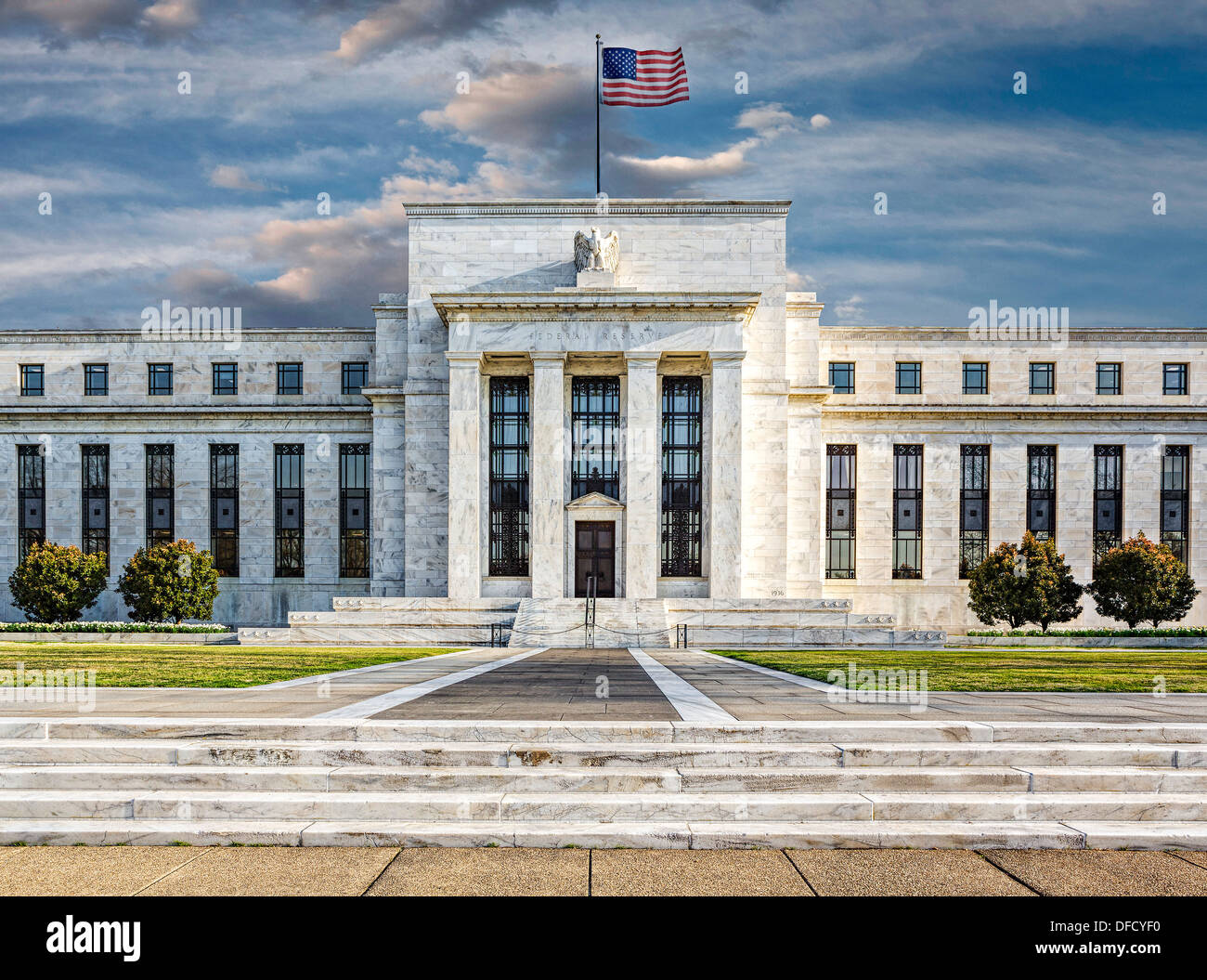 A front view of the Unites States Federal Reserve Building in the nations capital Washington DC. Stock Photo