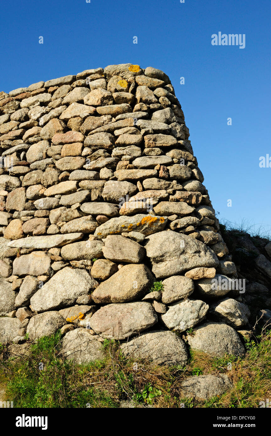 Ruins of the human settlement of Castro de Barona. Porto do Son, Galicia, Spain - Stock Image