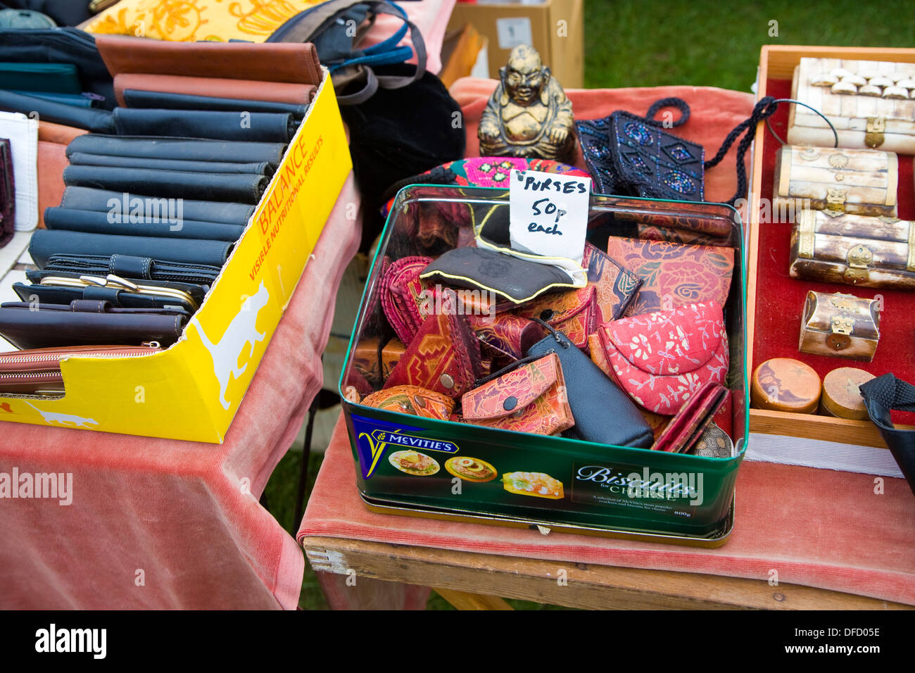 Leather purses andwallets on sale car boot sale UK - Stock Image