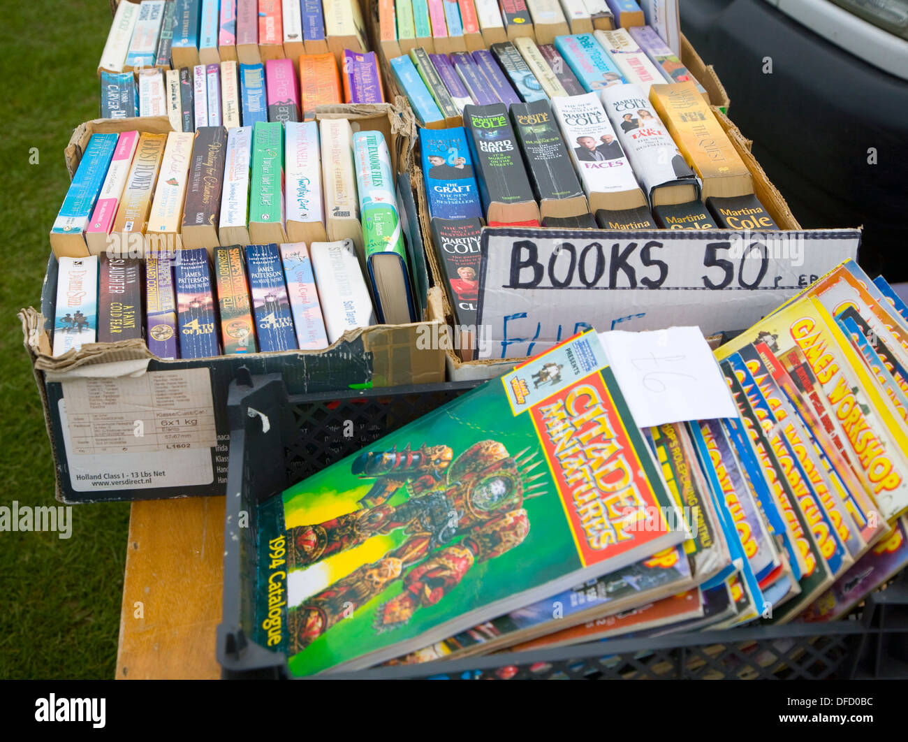 Second hand paperback books on sale car boot sale UK - Stock Image