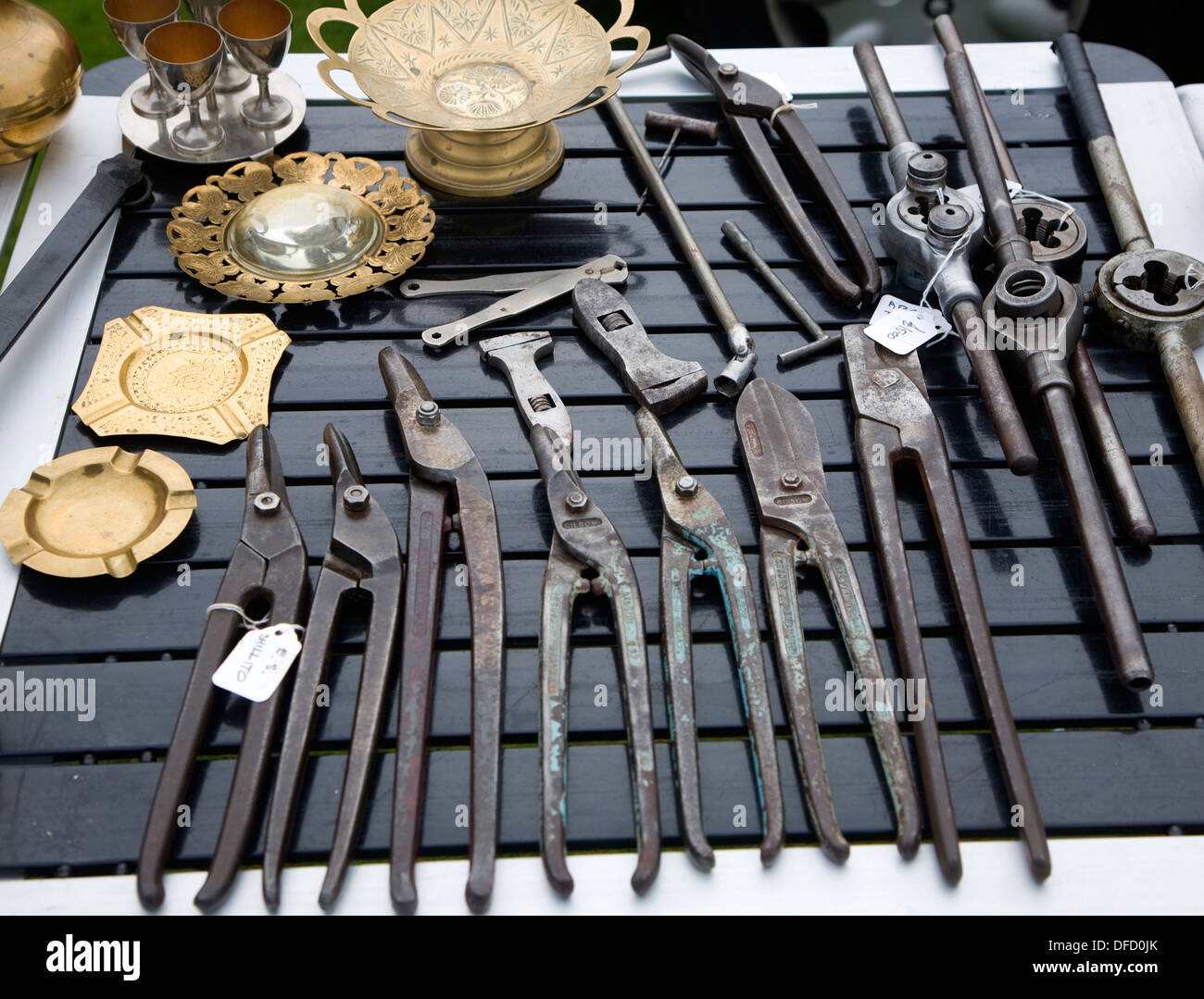 Metal craft tools on display at a car boot sale in UK - Stock Image