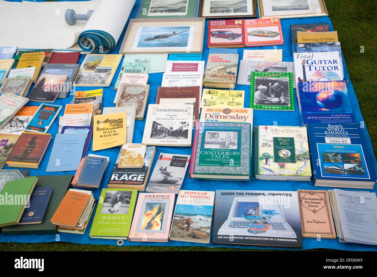 Books on sale car boot sale UK - Stock Image