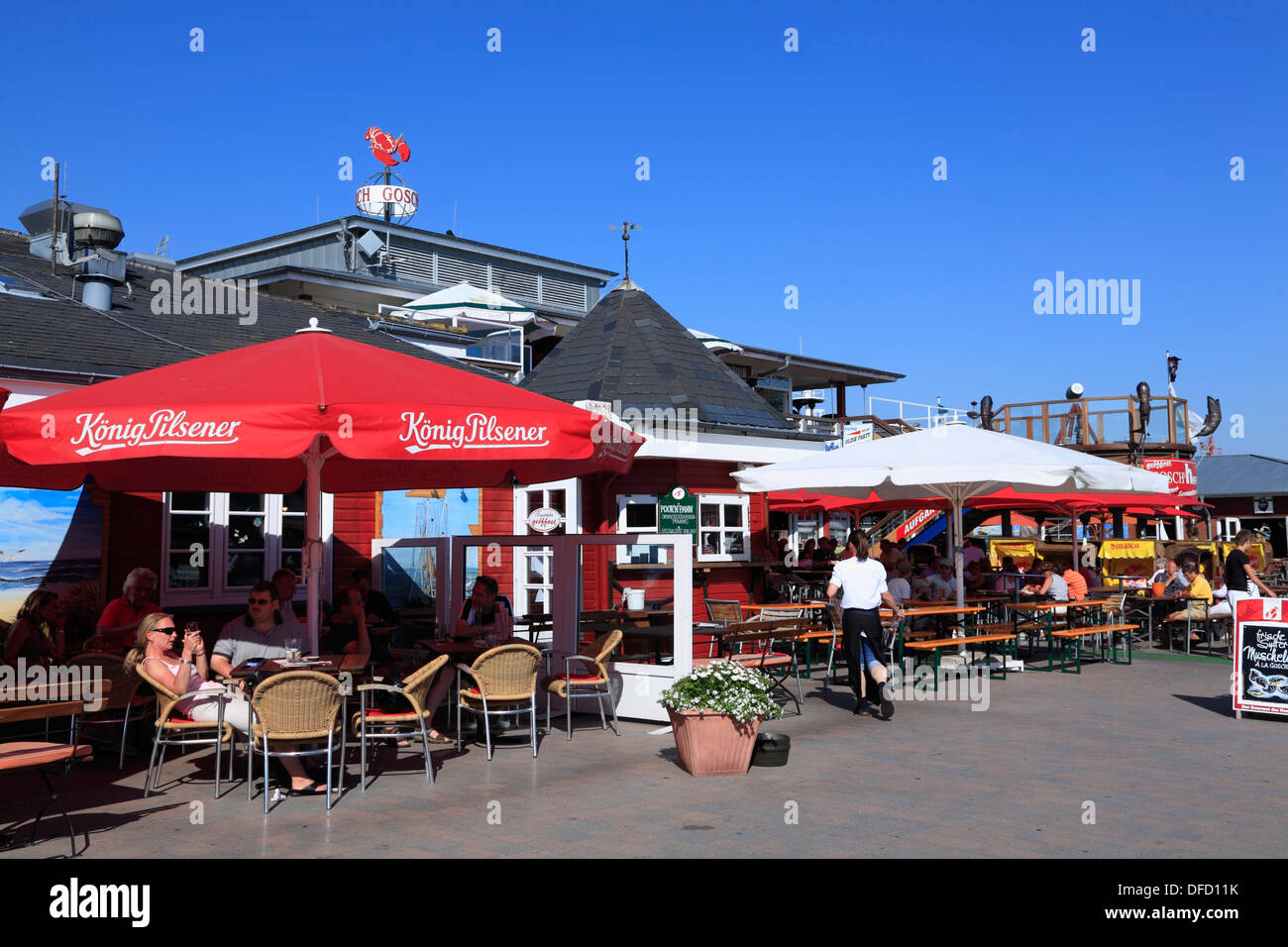 Fish Restaurant Gosch, List harbour, Sylt Island, Schleswig-Holstein, Germany - Stock Image