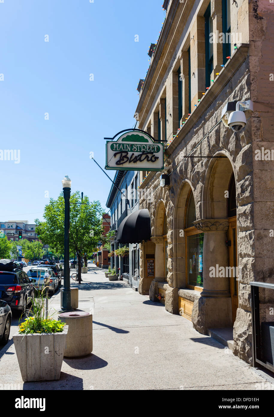 Shops and restaurants on West Main Street in historic downtown Boise, Idaho, USA - Stock Image