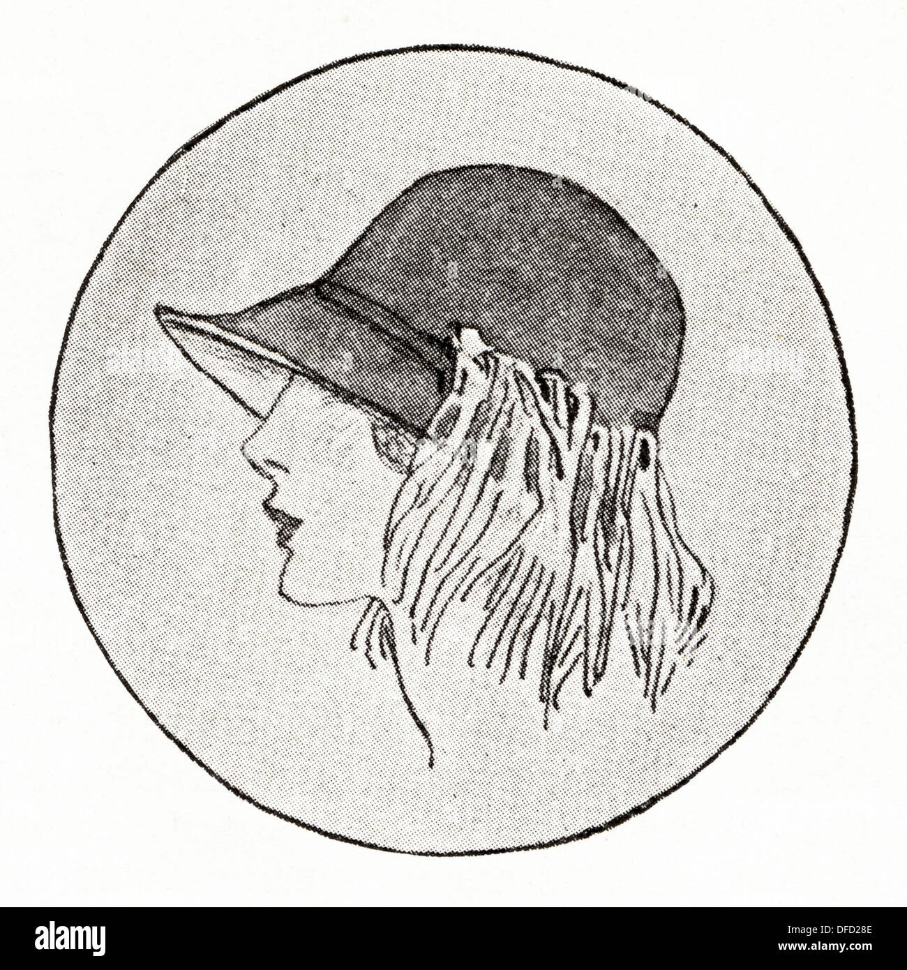 Flapper fashion of the 1920s. Hat with down-turned brim of tete-de-negre satin trimmed with drooping ostrich feathers, designer unknown. Original vintage illustration from a women's fashion magazine circa 1924 - Stock Image