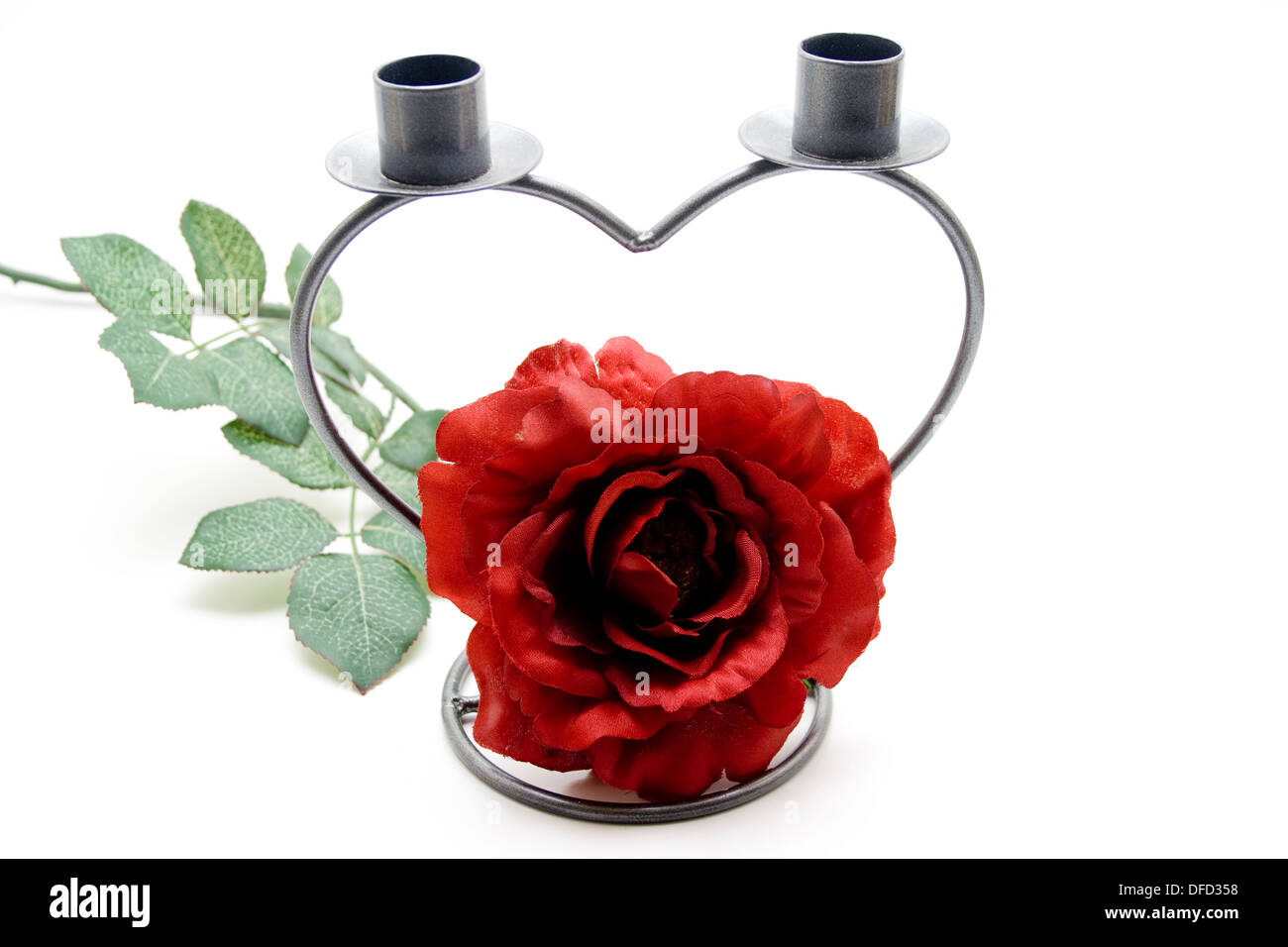 Rose with candle holders - Stock Image