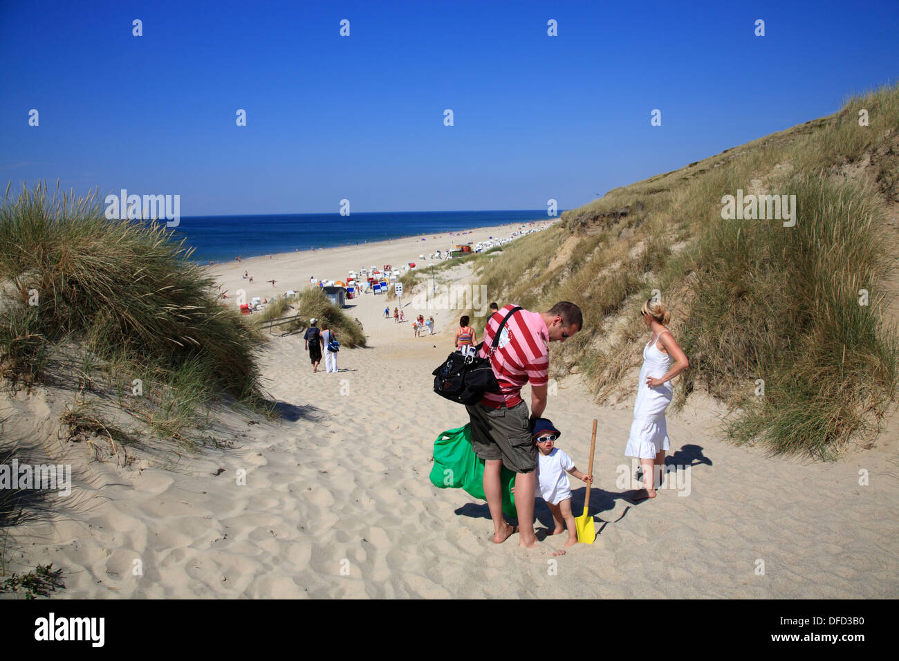Way to Wenningstedt beach, Sylt Island, Schleswig-Holstein, Germany - Stock Image