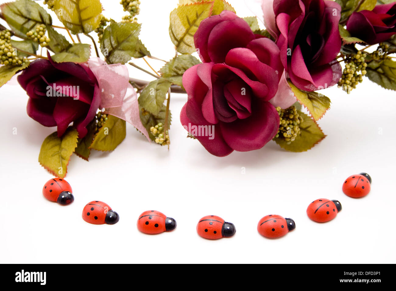Rose branch with wooden beetle - Stock Image