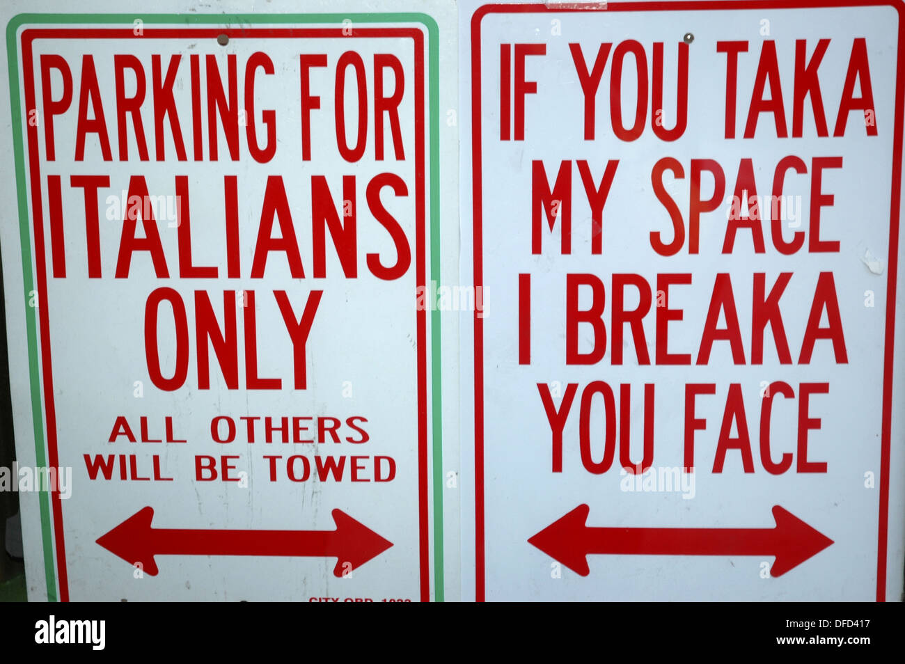 New York City USA, funny signs sold in Little Italy Stock