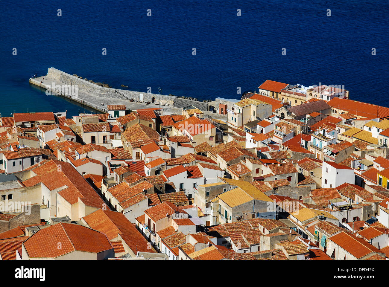 Cefalu, medieval city from Tyrrhenian Sea coast, Italy, famous place in Sicily. - Stock Image