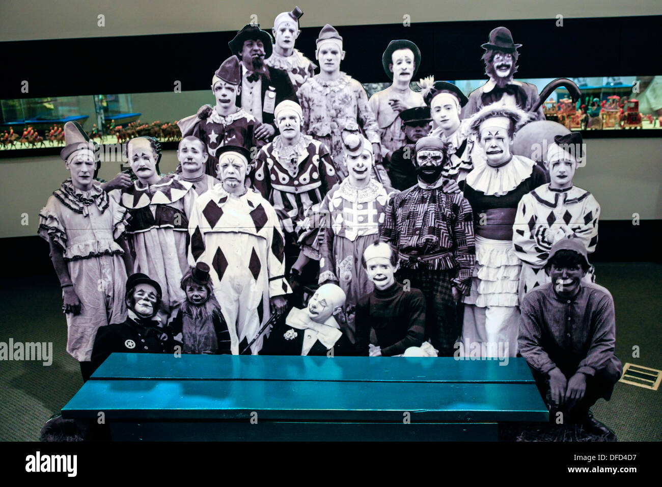 Black and white cut-outs of famous Ringling performers of yesteryear Stock Photo