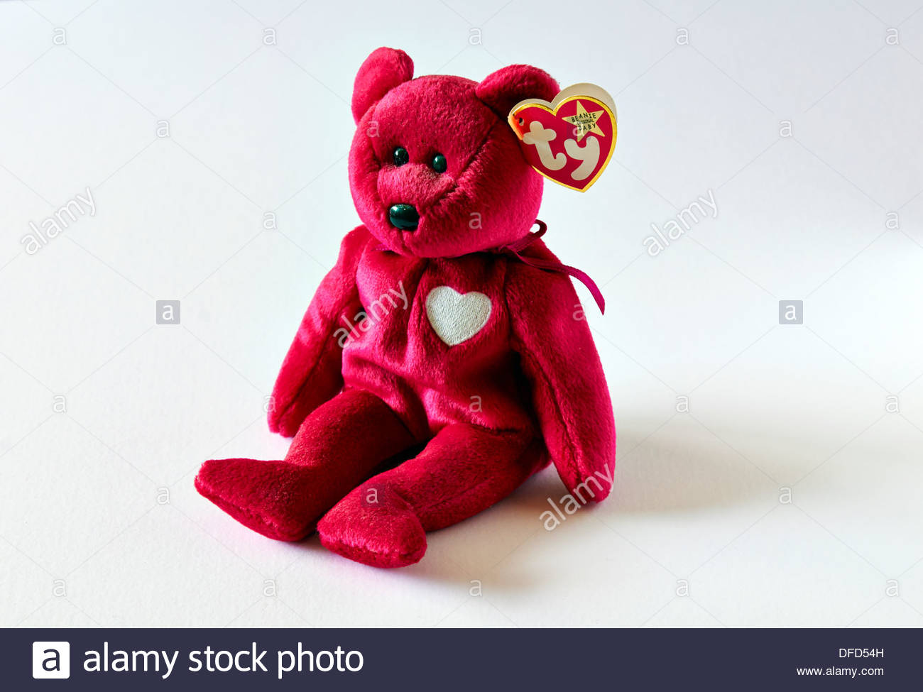 bd2882c36b2 red ty beanie baby teddy bear close up - Stock Image