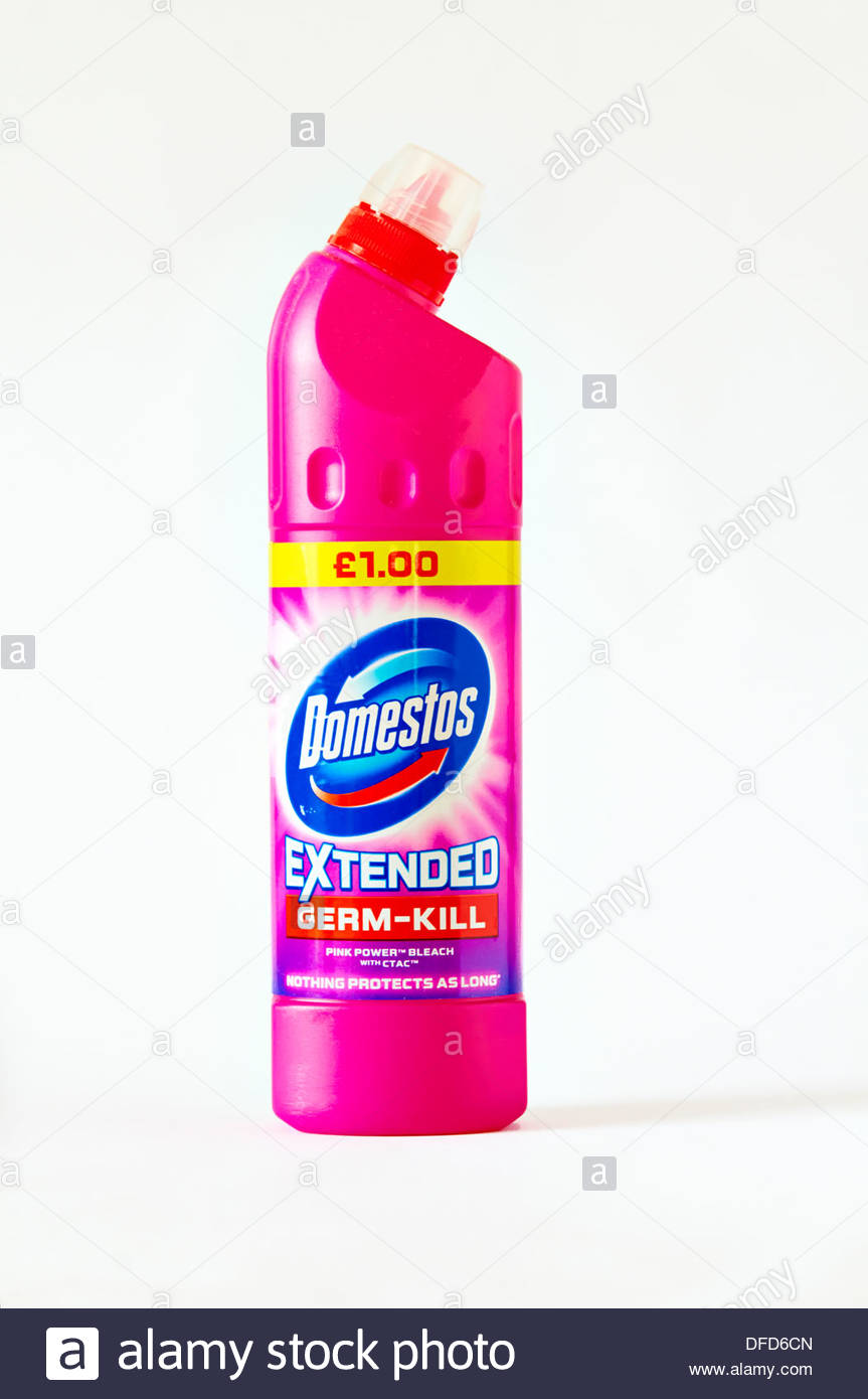 a pink plastic bottle of domestos germ killer and bleach - Stock Image