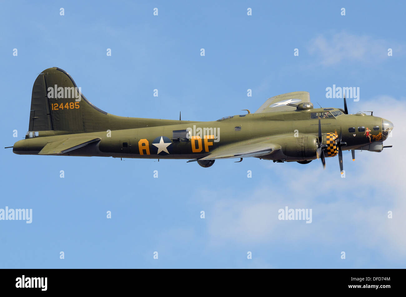 B-17 Flying Fortress G-BEDF Sally B is the last remaining airworthy B-17 in Europe. She is based in the UK from Stock Photo