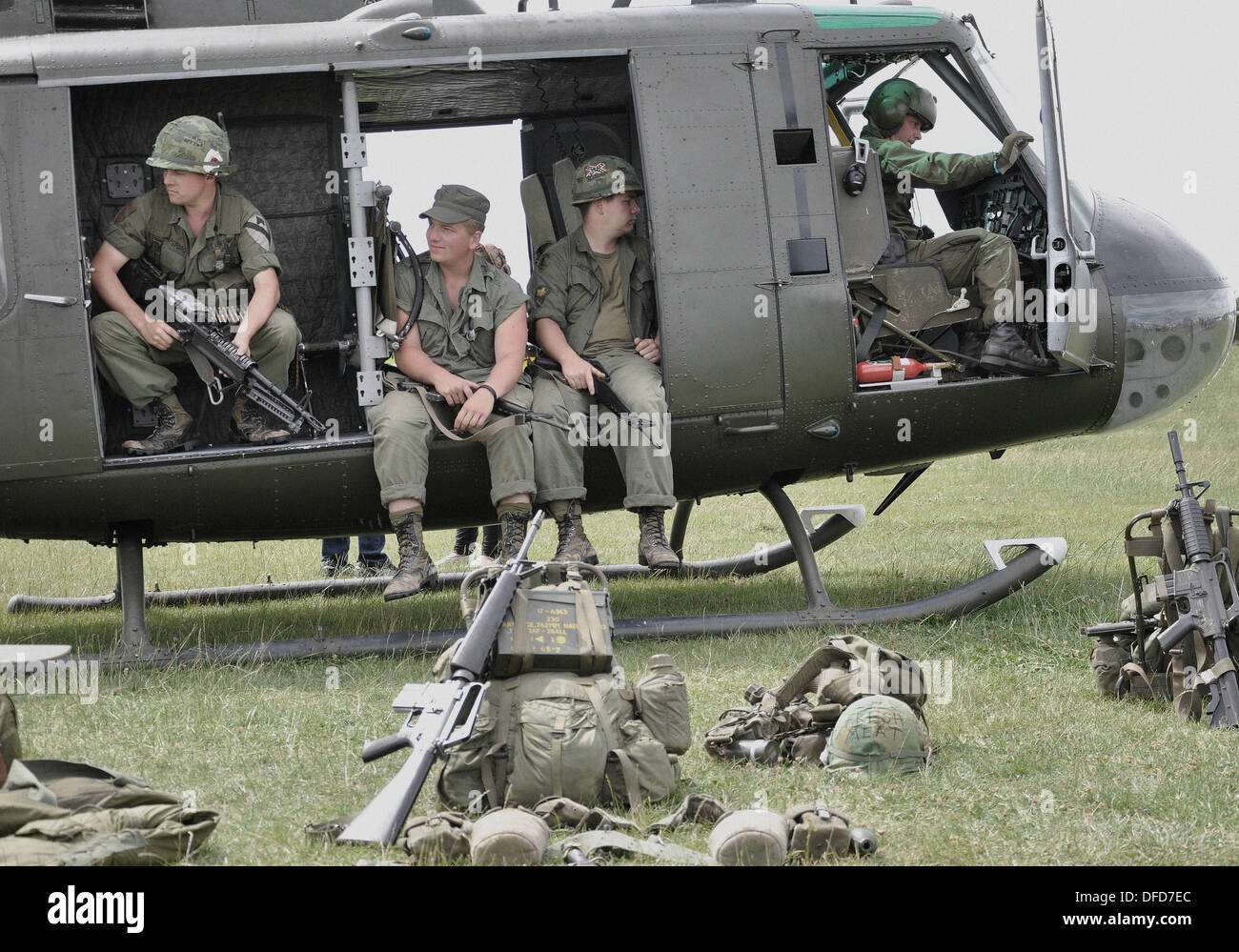 Huey Helicopter For Sale >> Bell UH-1 'Huey' with re-enactors to represent Vietnam War scenario Stock Photo: 61142212 - Alamy