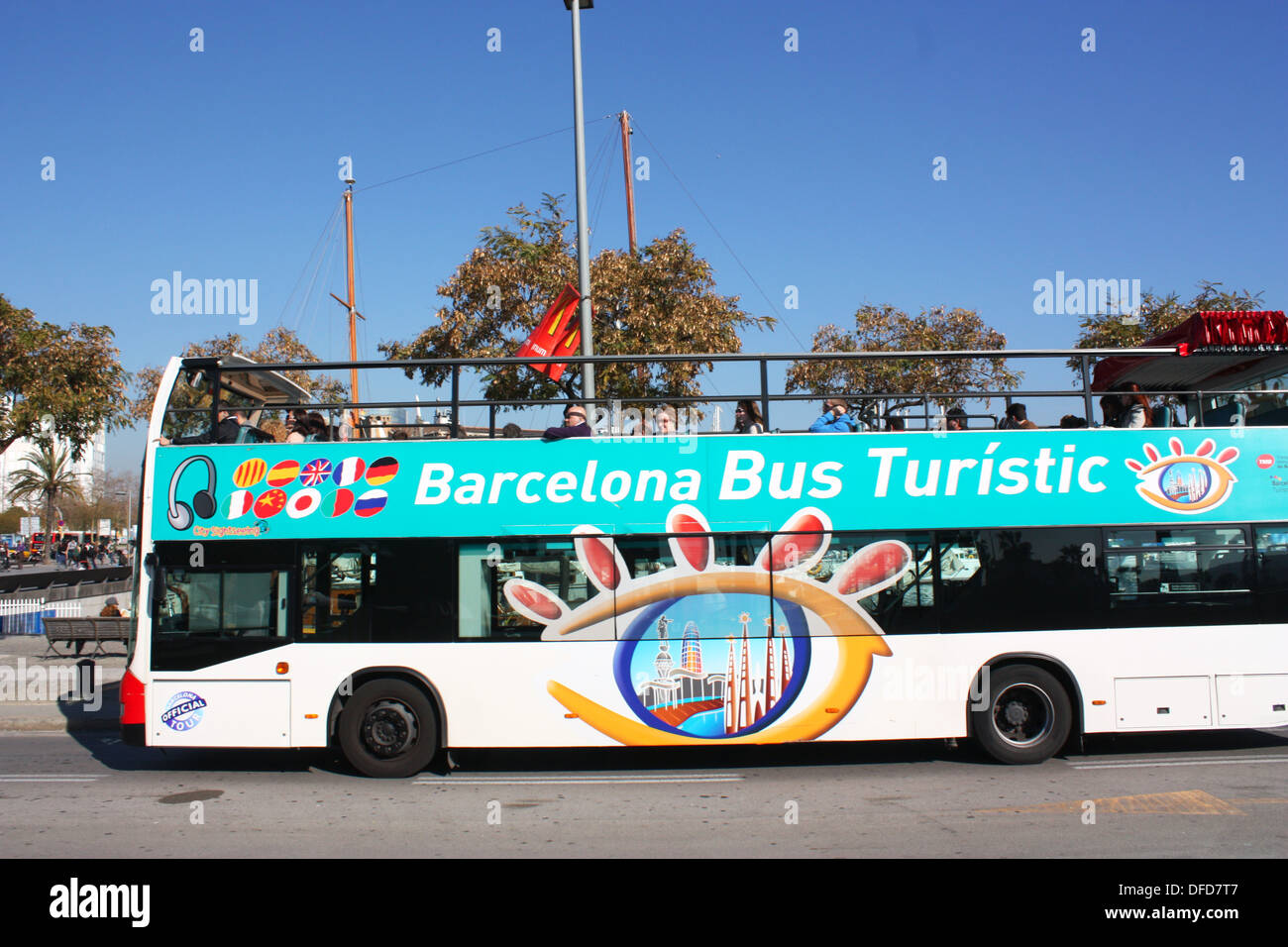 Barcelona open top tourist bus Stock Photo