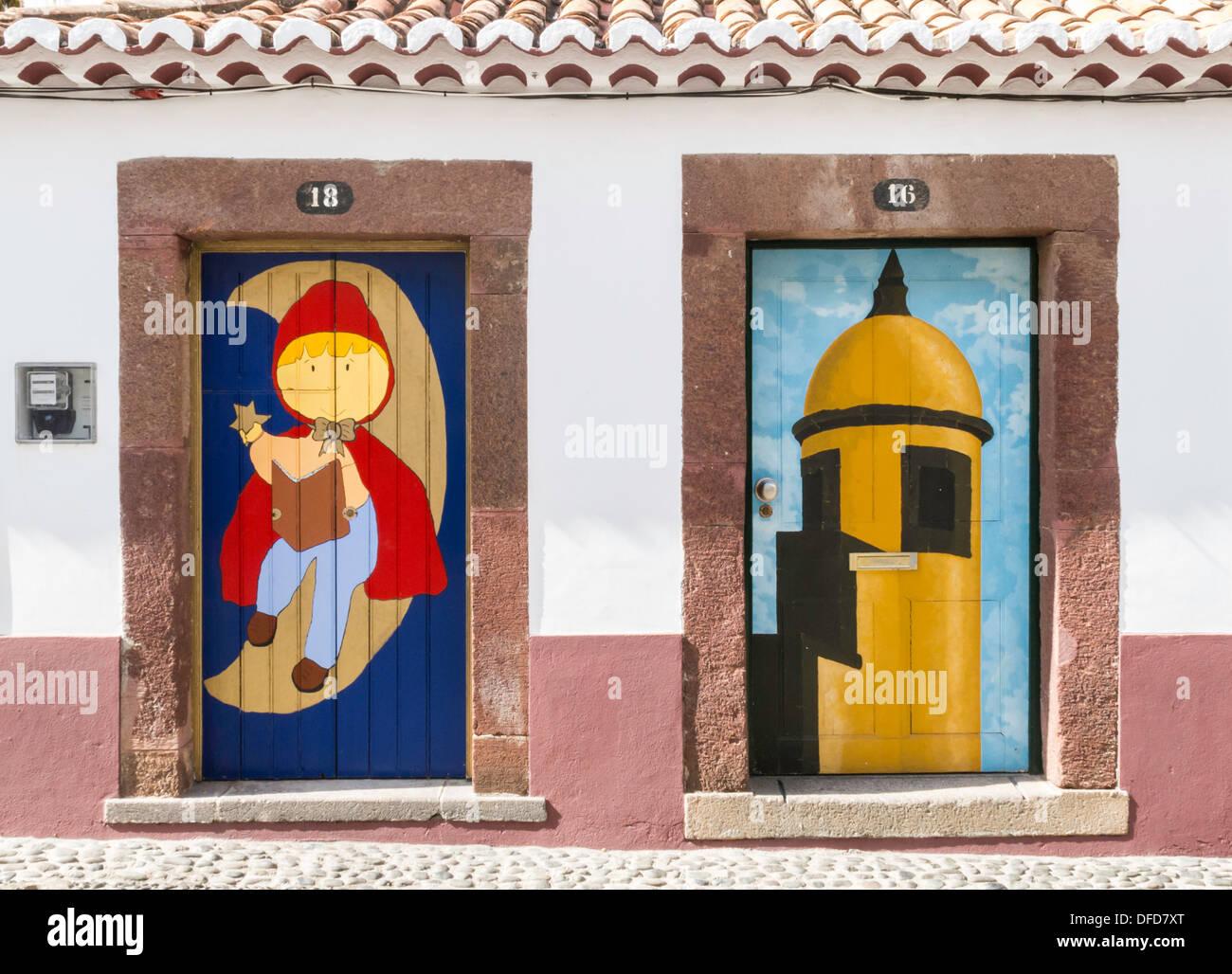 Painted Doors in Rua de Santa Maria Funchal Madeira - Stock Image