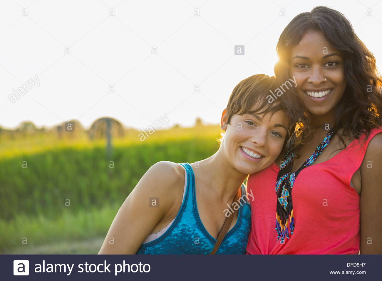 Portrait of young women outdoors - Stock Image