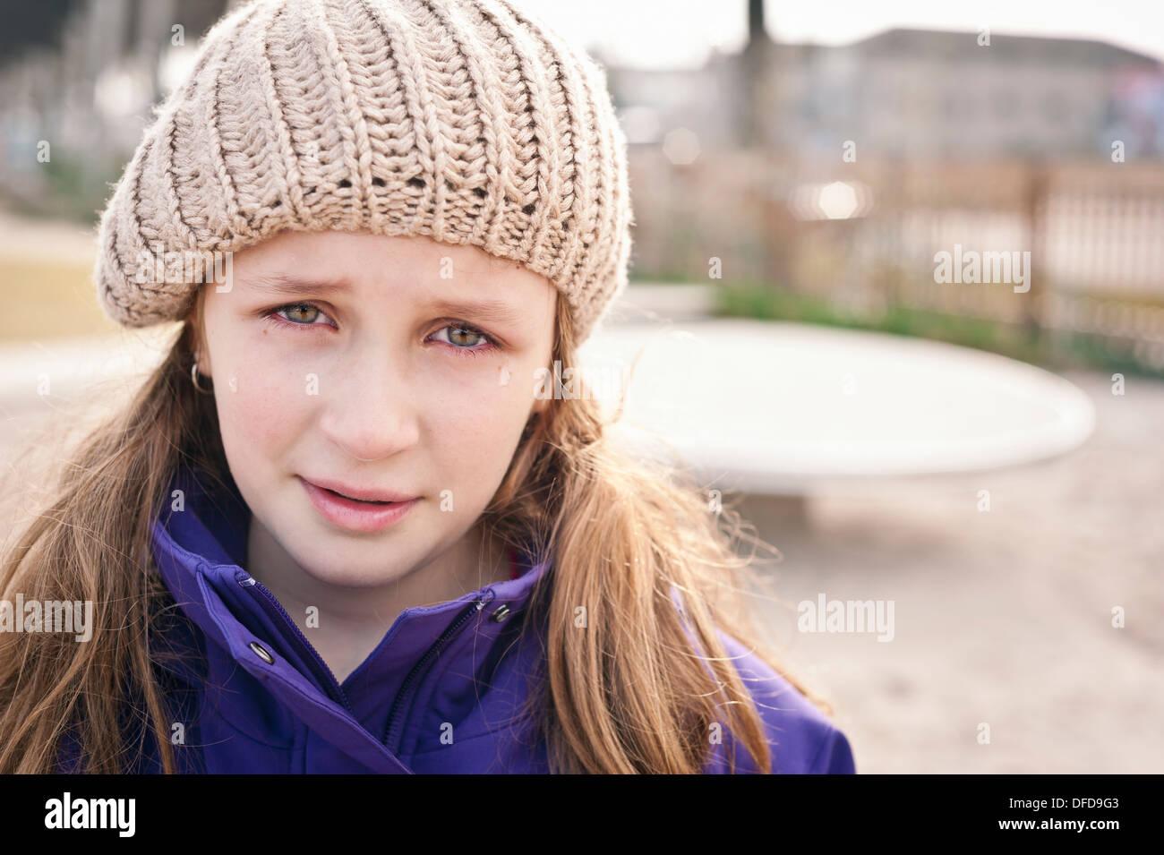 sad girl with tears - Stock Image