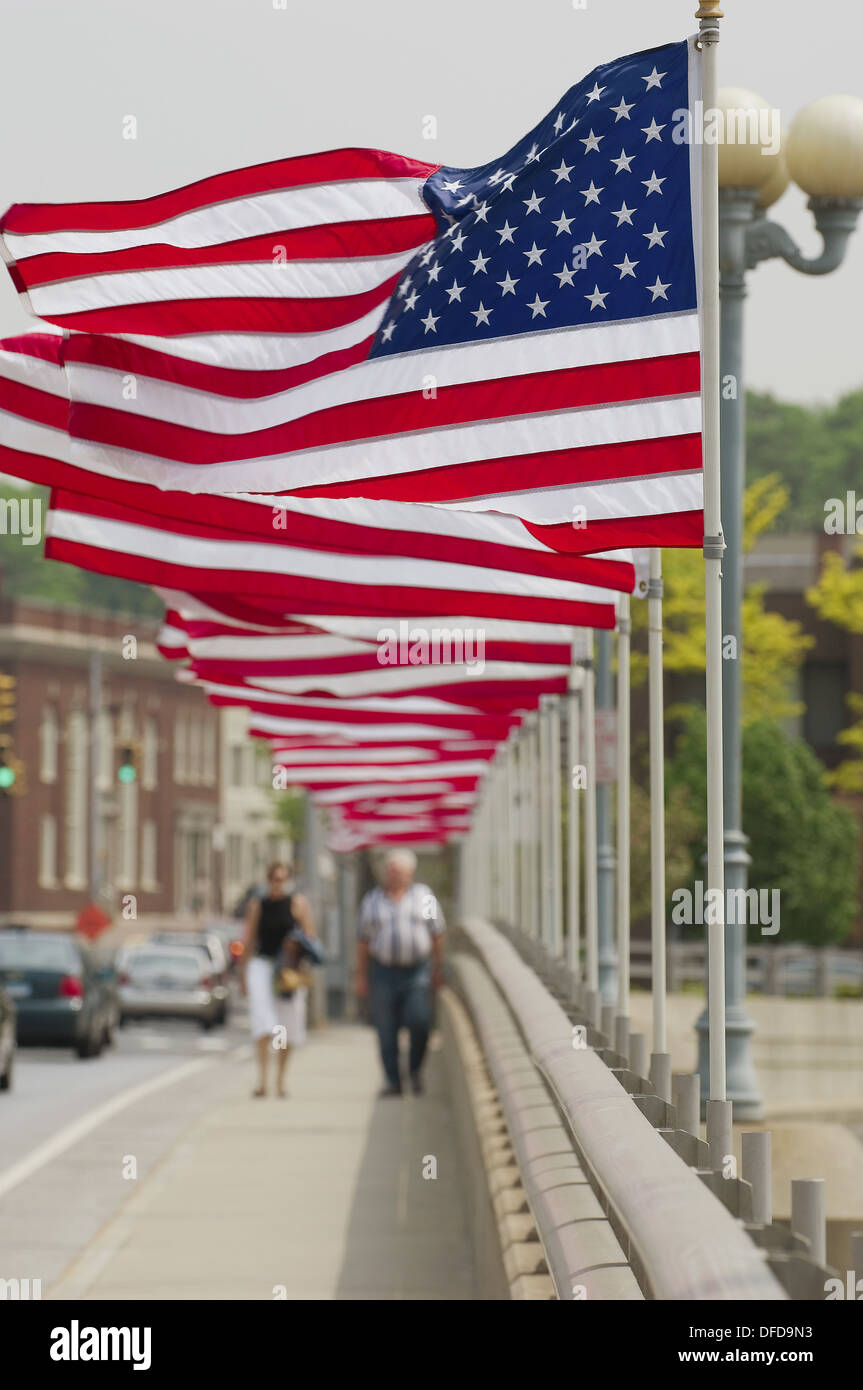 American flag blowing - Stock Image