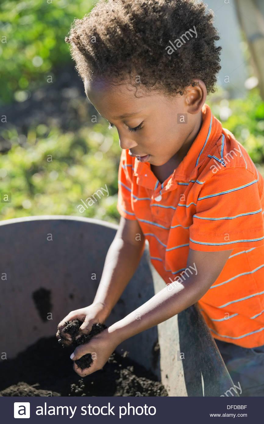 Little boy picking up garden dirt in wheelbarrow - Stock Image