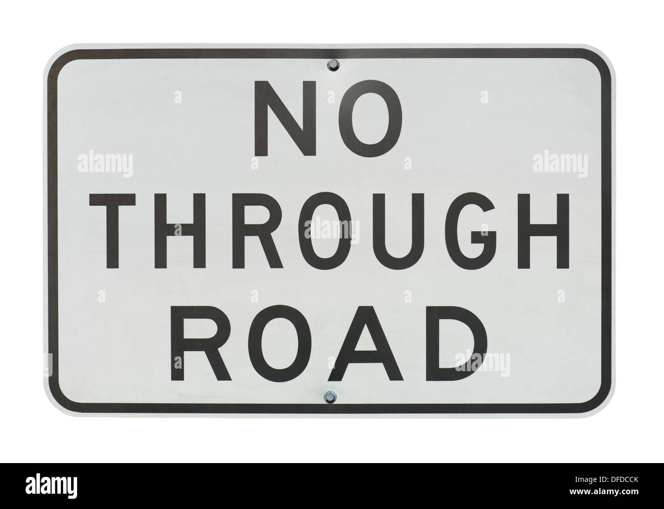 old no through road traffic sign isolated on a white background. - Stock Image