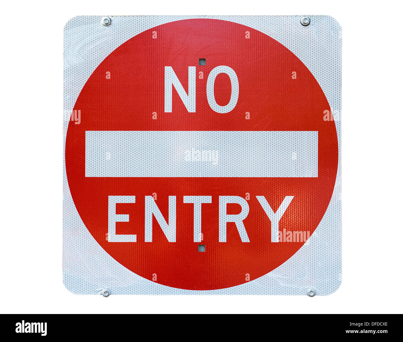 old no entry traffic sign on white background - Stock Image