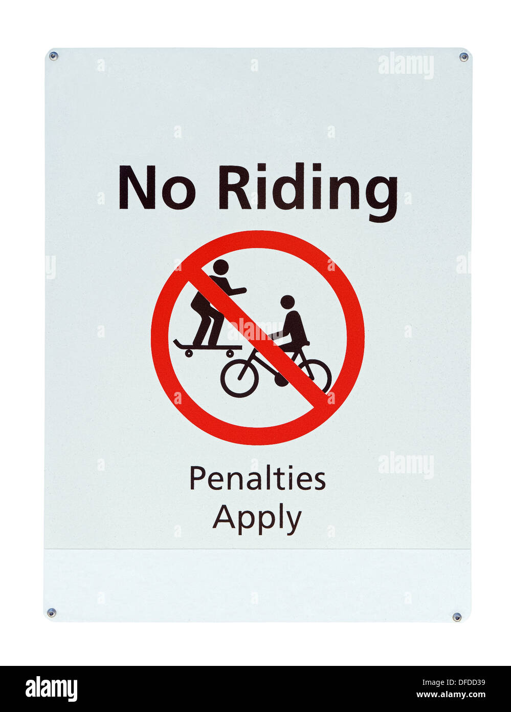 old no riding road sign isolated on a white background - Stock Image