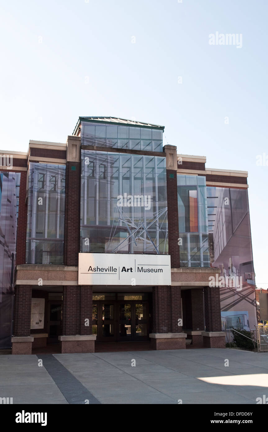 Exterior of Asheville Art Museum at 2 South Pack Square, in Asheville, NC, USA. - Stock Image