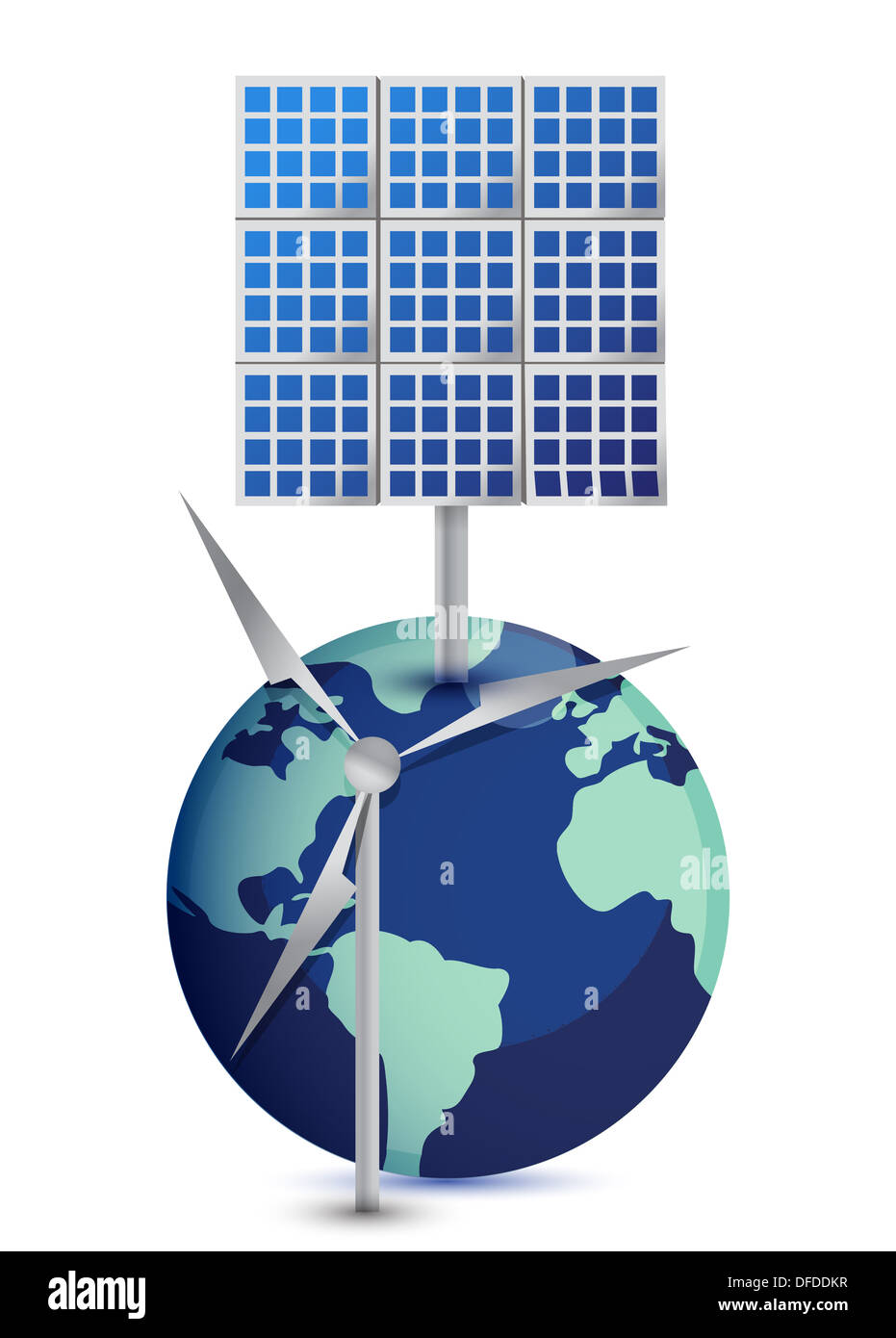 Miniature Globe with Windmill and Solar Panels on white background - Stock Image
