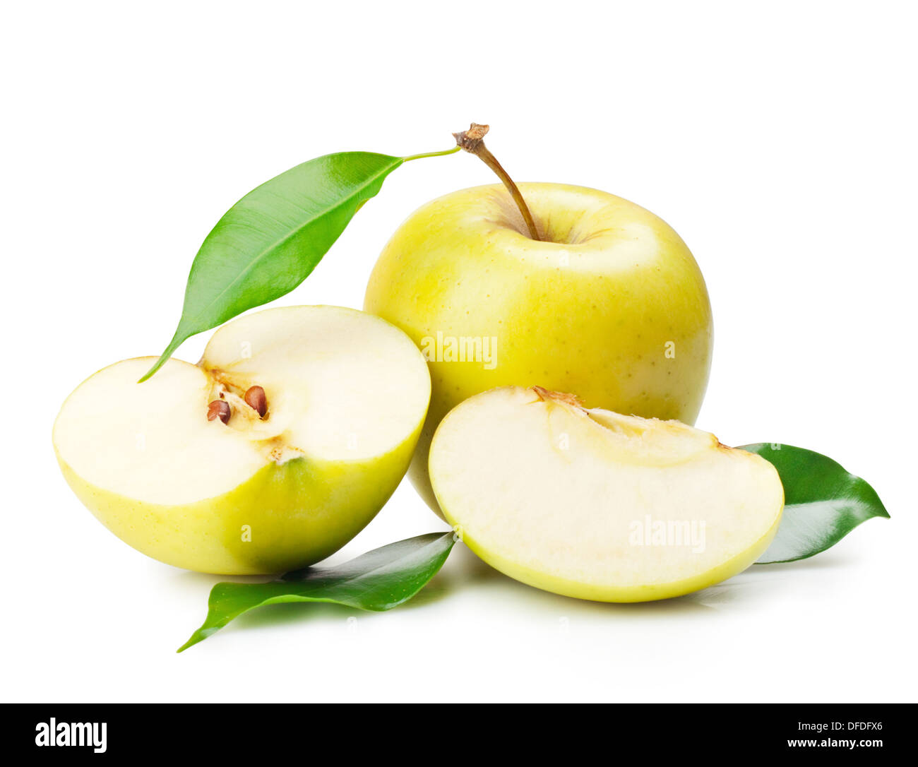 Delicious yellow apple with a leaf on a white background - Stock Image