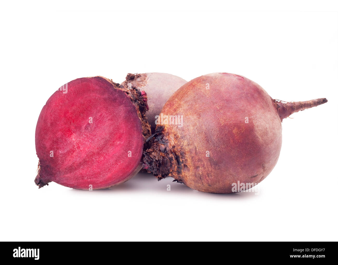 Fresh red beets on a white background - Stock Image