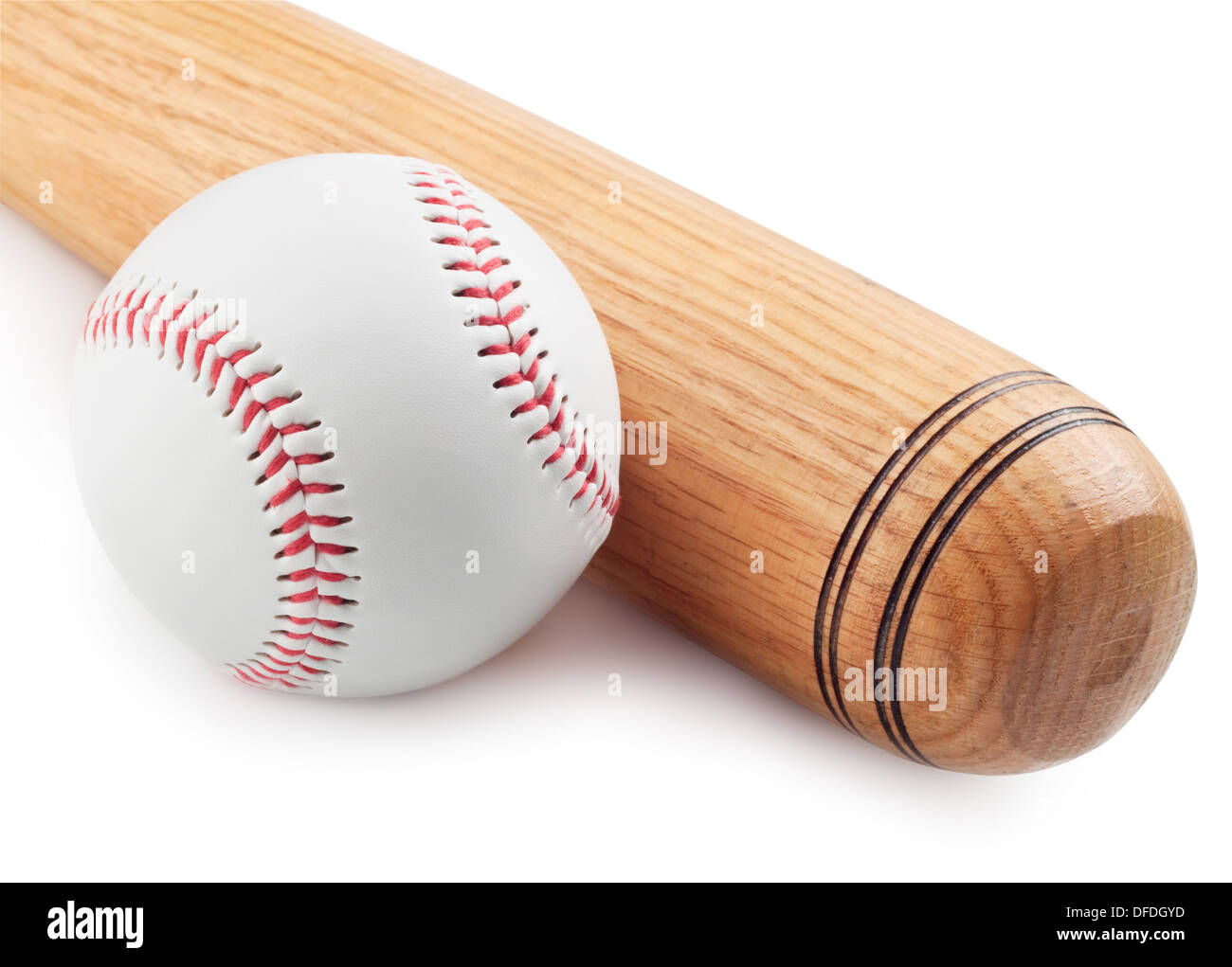 Baseball and baseball bat on white background - Stock Image