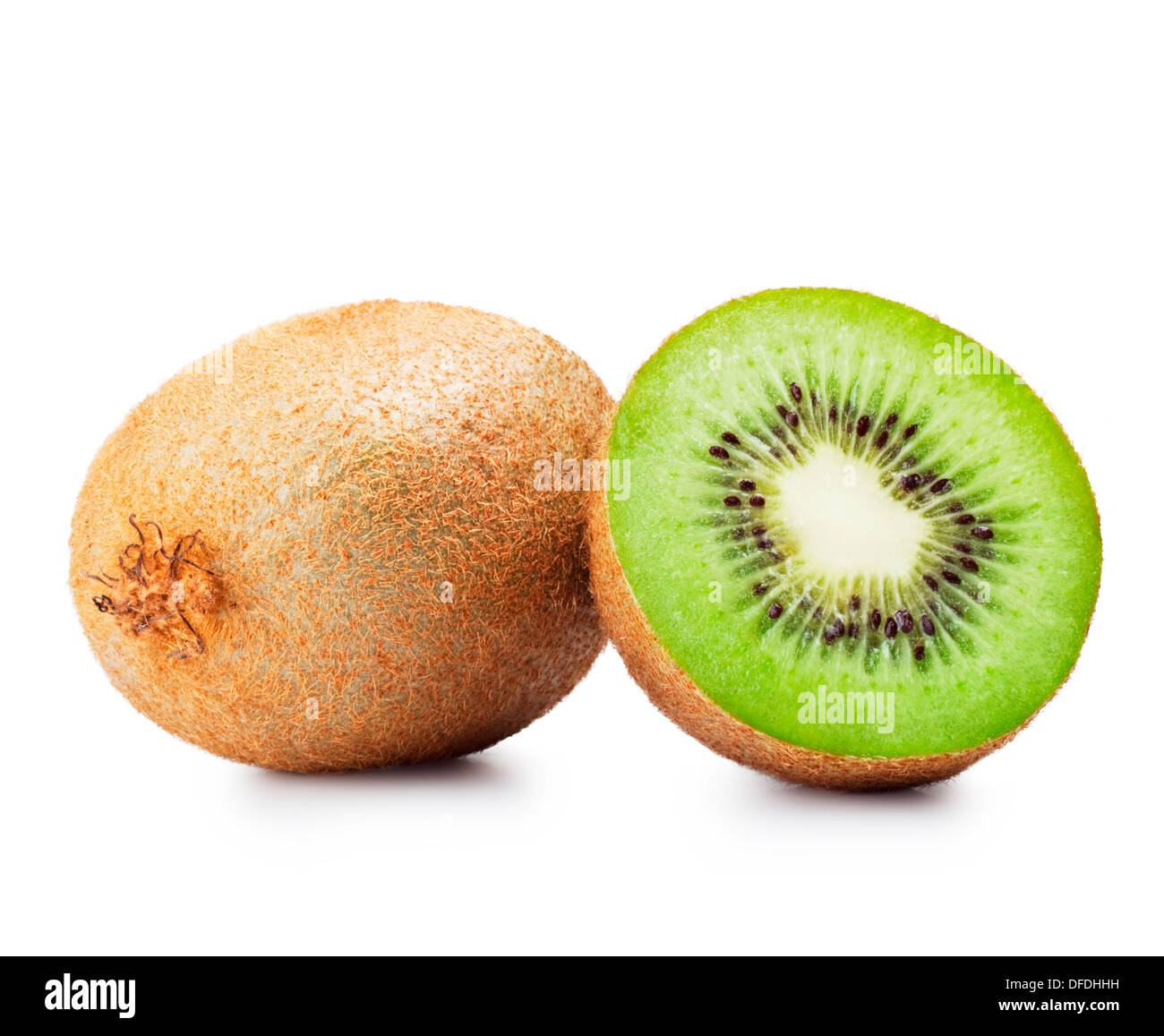 Fresh pieces kiwi fruit on white background - Stock Image