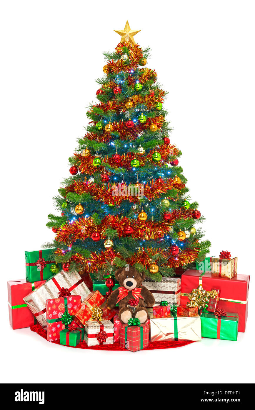 Christmas Tree Isolated On White With Gift Wrapped Presents Stock