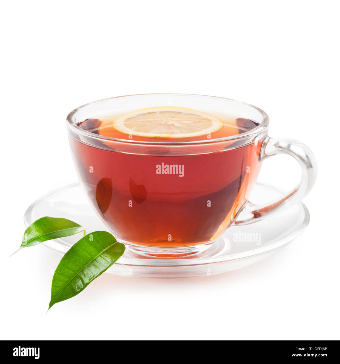 Hot black tea with lemon - Stock Image