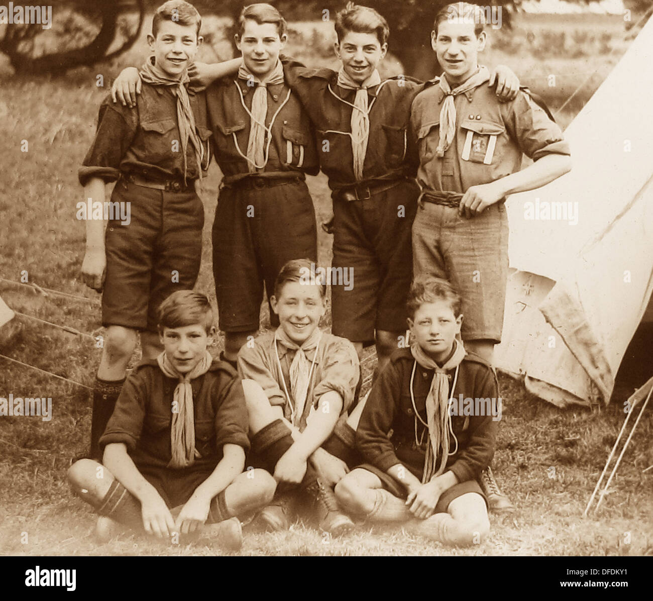 Boy Scouts at camp probably 1920s - Stock Image