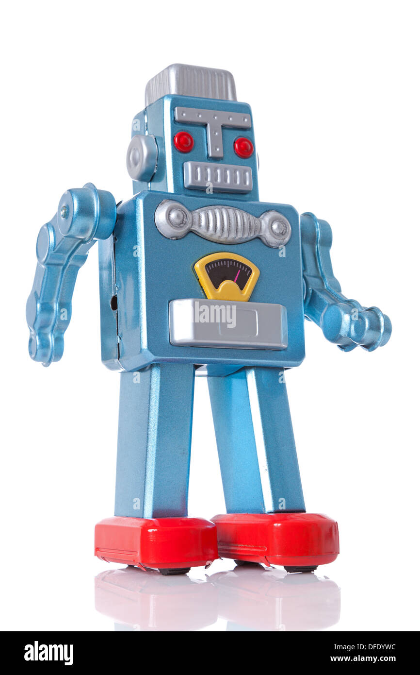 Tin robot isolated on a white background. - Stock Image