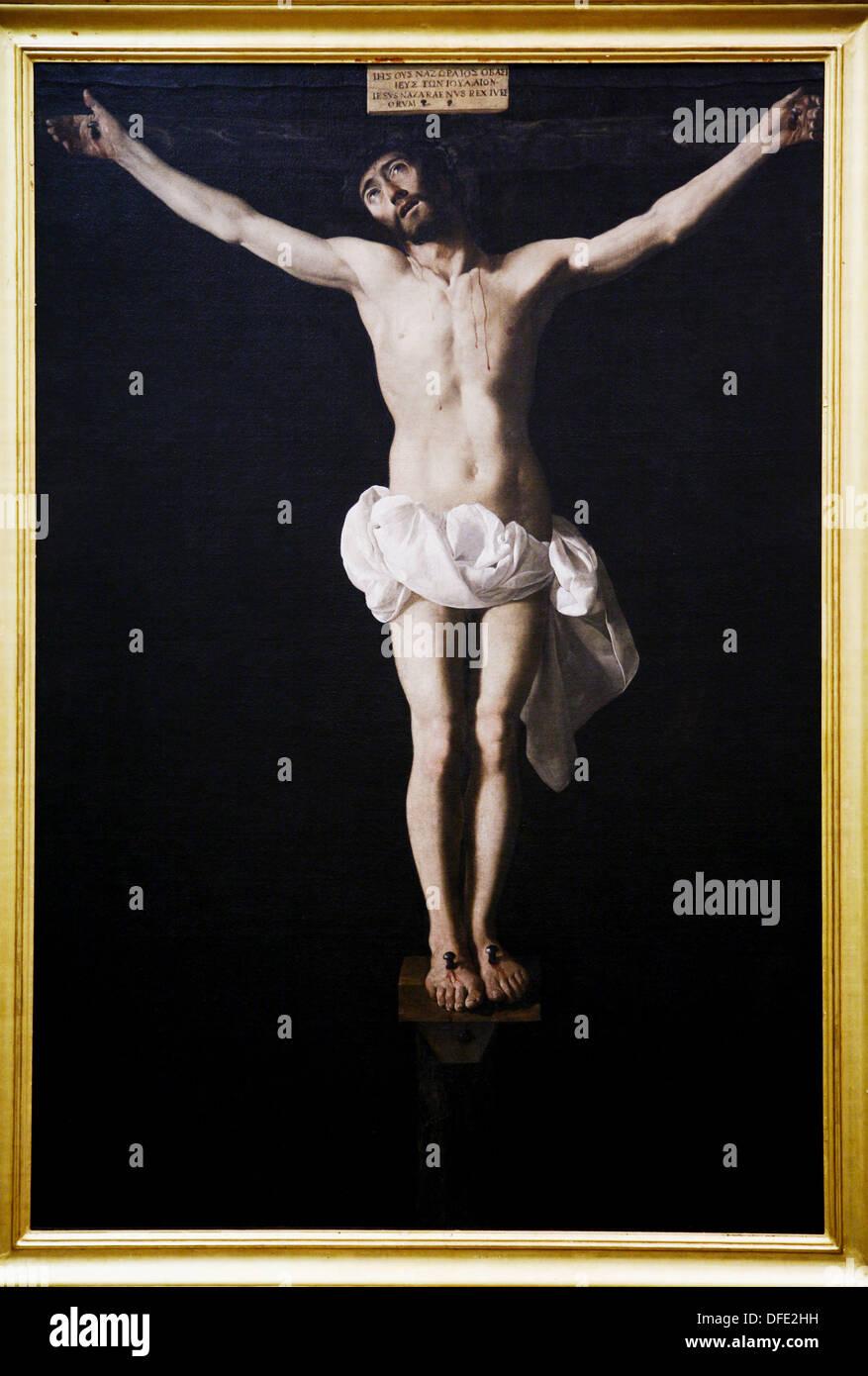 Dying Christ around 1630, by Francisco de Zurbaran, Fine Arts Museum, Seville, Spain - Stock Image