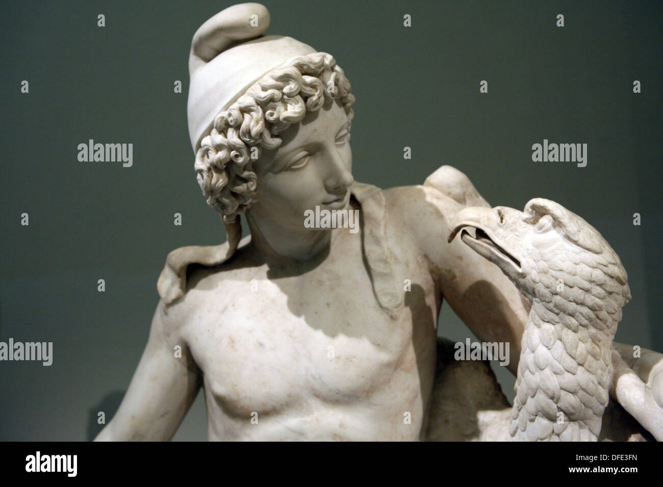 Ganymede with an eagle  2nd century sculpture - Stock Image