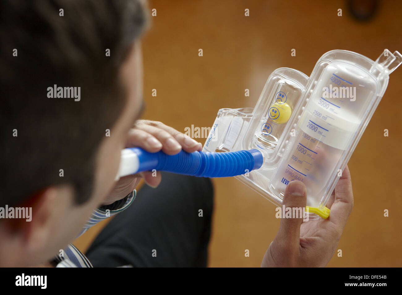 Occupational therapy, Spiro-Ball Volumetric Incentive Spirometer, respiratory therapy, interstitial pneumopathy. Hospital - Stock Image