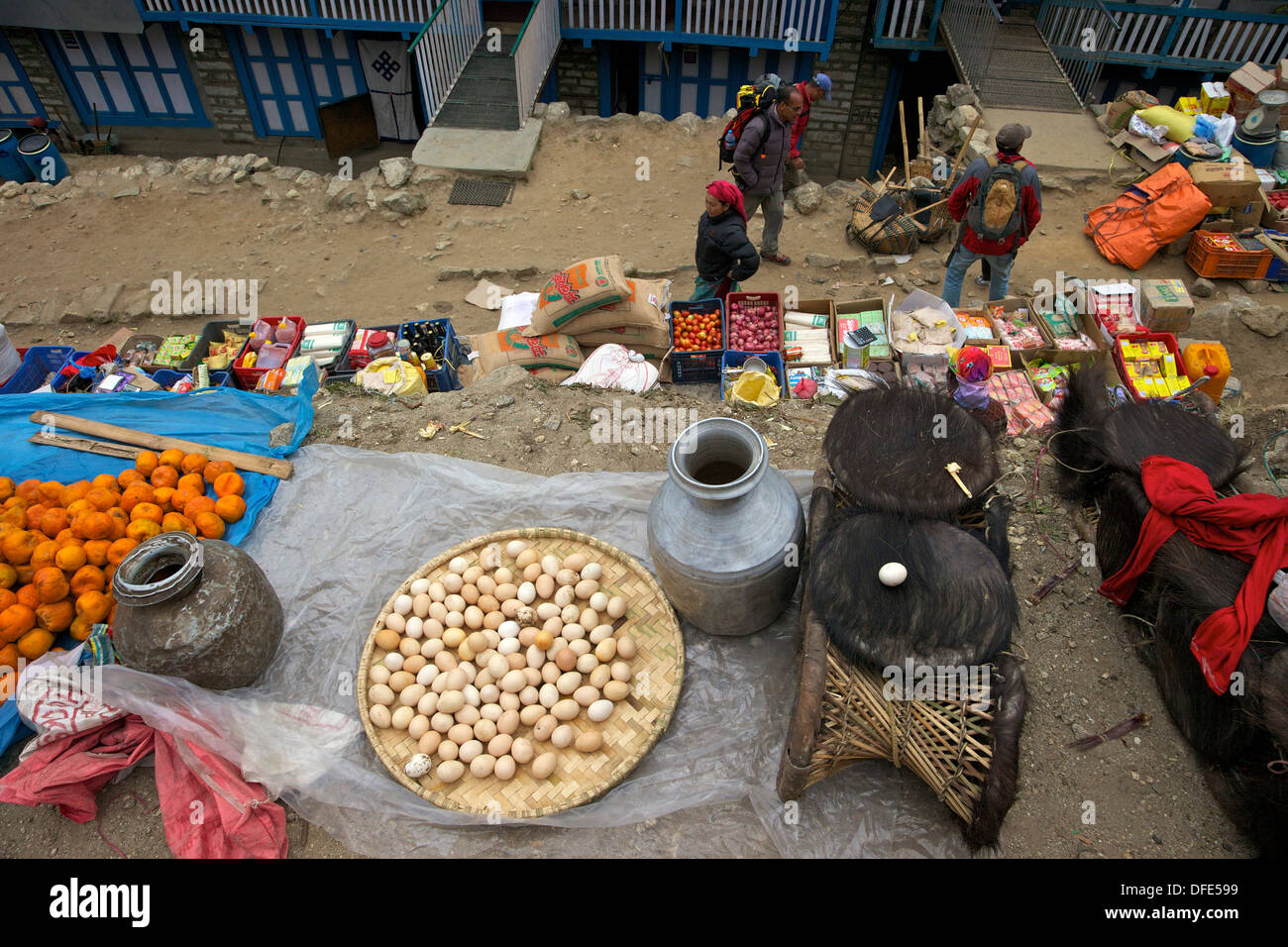 Market stalls in Namche Bazaar, Nepal, Asia - Stock Image
