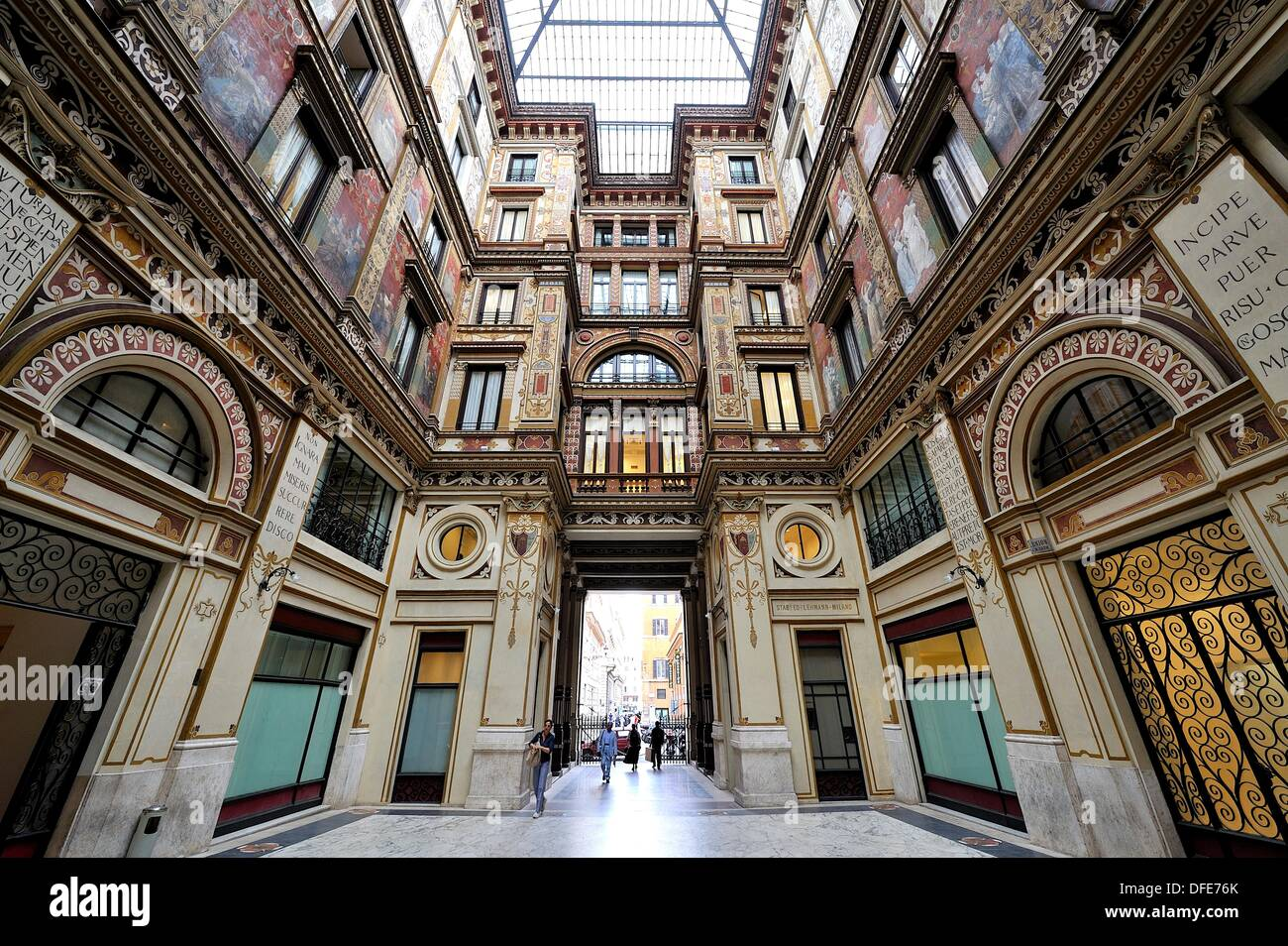 Richly decorated interior courtyard, Rome - Stock Image