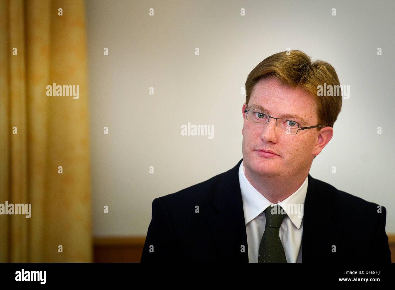Edinburgh, UK. 3rd October 2013. Keynote speakers Danny Alexander MP, Chief Secretary to the Treasury, HM Government Stock Photo